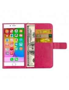 Univerzális pink színű ablakos tárca tok karpánttal 5 colos telefonokhoz