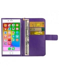 Univerzális lila színű ablakos tárca tok karpánttal 5 colos telefonokhoz