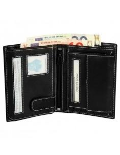 Hárombahajtott valódi bőr pénztárca fehér varrással - P495330011023