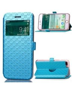 Divatos ablakos kék színű notesz telefontok Apple iPhone 7 PLUS telefonhoz