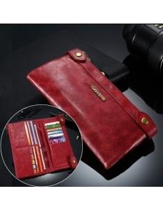 Telefontartó pénztárca - valódi bőr - FLOVEME - PIROS