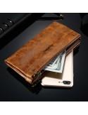 Telefontartó pénztárca - valódi bőr - FLOVEME - BARNA