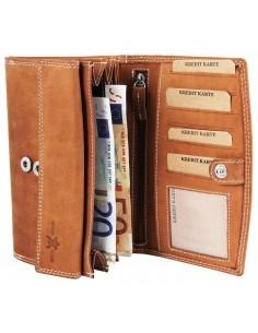 Accent valódi bőr nagyméretű pénztárca - VILÁGOSBARNA - P495710957001-VB