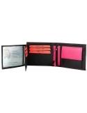 Monopol háromba hajtott valódi bőr pénztárca - FEKETE - PINK- 495040014053