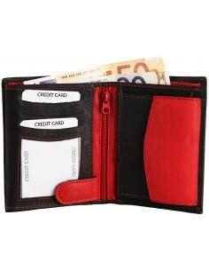Excellanc valódi bőr pénztárca - PIROS - FEKETE - 495035015082