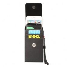 Univerzális övre fűzhető álló telefontok - FEKETE