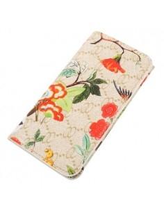 Kártyatartós, virág mintás telefontok - 13.5 x 6.0 - BÉZS