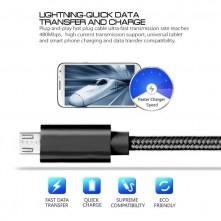USB kábel - adatkábel - fonott dizájn - 1m hosszú - FEKETE