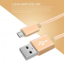 USB kábel - adatkábel - fonott dizájn - 1m hosszú - ARANY