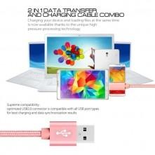 USB kábel - adatkábel - fonott dizájn - 1m hosszú - ROZÉ ARANY