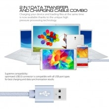 USB kábel - adatkábel - fonott dizájn - 1m hosszú - EZÜST
