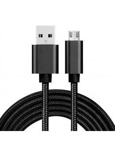 USB kábel - adatkábel - fonott dizájn - 2m hosszú - FEKETE