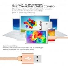 USB kábel - adatkábel - fonott dizájn - 2m hosszú - ARANY