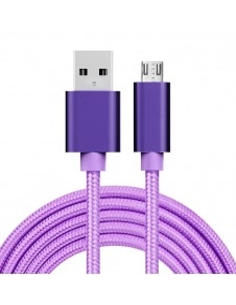 USB kábel - adatkábel - fonott dizájn - 2m hosszú - LILA