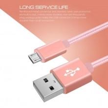 USB kábel - adatkábel - fonott dizájn - 2m hosszú - ROZÉ ARANY