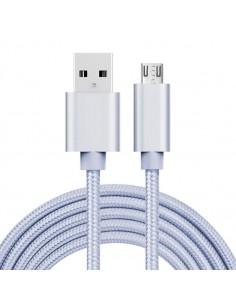 USB kábel - adatkábel - fonott dizájn - 2m hosszú - EZÜST