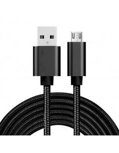 USB kábel - adatkábel - fonott dizájn - 3m hosszú - FEKETE