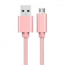 USB kábel - adatkábel - fonott dizájn - 3m hosszú - ROZÉ ARANY