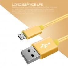 USB kábel - adatkábel - fonott dizájn - 3m hosszú - SÁRGA