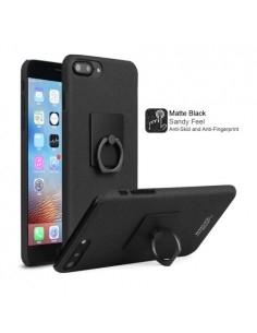 IMAK iPhone 8 Plus / 7 Plus gyűrűs tok + kijelzővédő fólia - MATT FEKETE