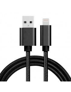 1 méteres USB kábel iPhone X/8/8 Plus/7/7 Plus/6/6s/6 Plus/6s Plus/iPad/5/5s/SE - FEKETE
