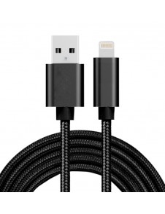 2 méteres USB kábel iPhone X/8/8 Plus/7/7 Plus/6/6s/6 Plus/6s Plus/iPad/5/5s/SE - FEKETE
