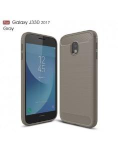 Samsung Galaxy J3 (2017) karbon mintás tok - SZÜRKE