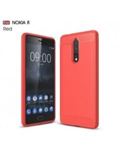 Nokia 8 karbon mintás tok - PIROS