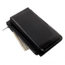 Univerzális övre fűzhető tépőzáras fekete színű telefon tartó cipzáras rekesszel