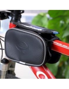 Kerékpárra rögzíthető tok 2 oldalsó rekesszel 8.5x16 cm-es telefonokhoz - FEKETE