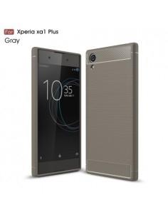 Sony Xperia XA1 Plus karbon mintás tok - SZÜRKE
