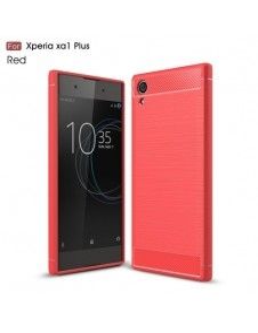 Sony Xperia XA1 Plus karbon mintás tok - PIROS