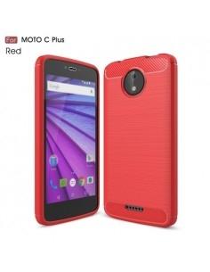Motorola Moto C Plus karbon mintás tok - PIROS