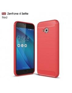 Asus Zenfone 4 Selfie Pro ZD552KL karbon mintás tok - PIROS