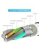 FLOVEME 1 méteres 3 az 1-ben 2A 8 Pin + Micro USB + USB-C / Type-C mágneses töltőkábel, adatkábel - EZÜST