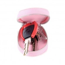 Univerzális bőr övre csatolható cipzáras kulcstartó táska - RÓZSASZÍN - T10068