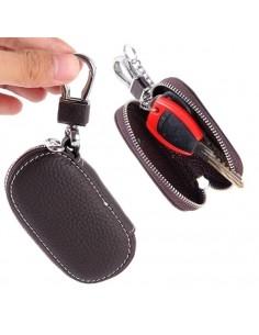 Univerzális bőr övre csatolható cipzáras kulcstartó táska - SÖTÉTBARNA - T10069