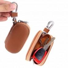 Univerzális bőr övre csatolható cipzáras kulcstartó táska - VILÁGOSBARNA - T10071