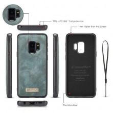 CaseMe 2 az 1-ben mappa tok Samsung Galaxy S9 telefonhoz - KÉK
