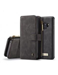 CaseMe 2 az 1-ben valódi bőrtok Samsung Galaxy S9 telefonhoz - FEKETE