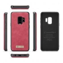 CaseMe 2 az 1-ben valódi bőrtok Samsung Galaxy S9 telefonhoz - PIROS