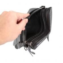 Unisex bőr 4 rekeszes cipzáras válltáska - FEKETE