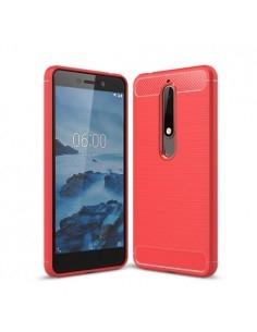 Nokia 6.1 karbon mintás tok - PIROS
