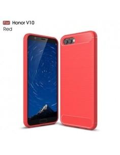 Huawei Honor V10 / View 10 karbon mintás tok - PIROS