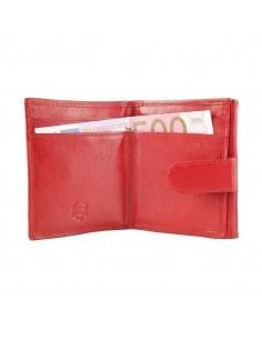 Félbehajtott valódi bőr pénztárca - PIROS - 49502501010