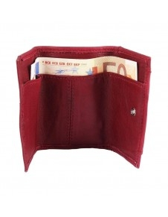 Excellanc mini piros bőr pénztárca - 8x5 cm - 495232050008