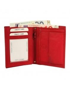 Excellanc valódi bőr pénztárca - 12x9 cm - PIROS - 495330051014