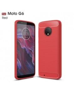 Motorola Moto G6 karbon mintás tok - PIROS