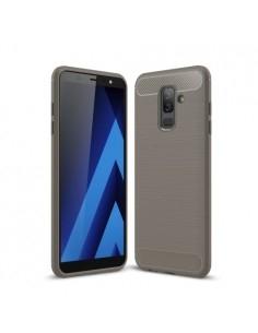 Samsung Galaxy A6 Plus (2018) karbon mintás tok - SZÜRKE