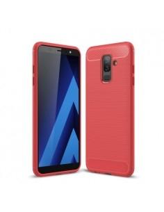 Samsung Galaxy A6 Plus (2018) karbon mintás tok - PIROS